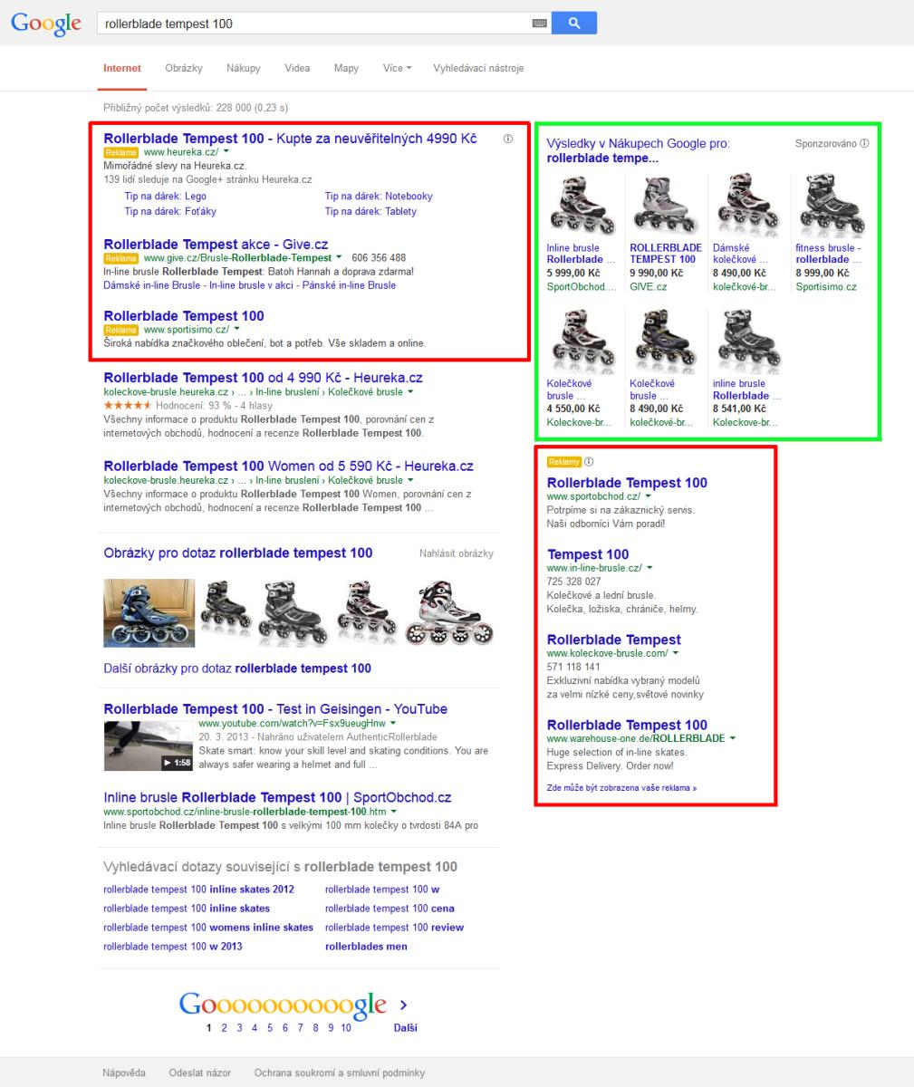 Ukázka reklamní kampaně Google Nákupy (PLA - Product Listing Ads)