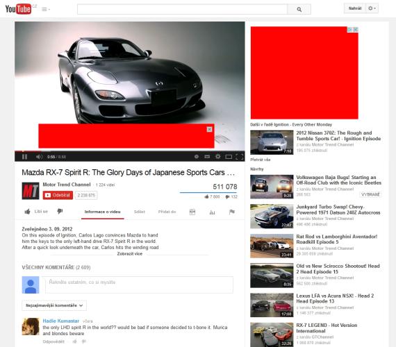 Remarketing a Retargeting - ukázka umístění reklamní kampaně (na YouTube.com)